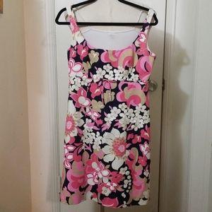 J CREW pink black floral sleeveless dress